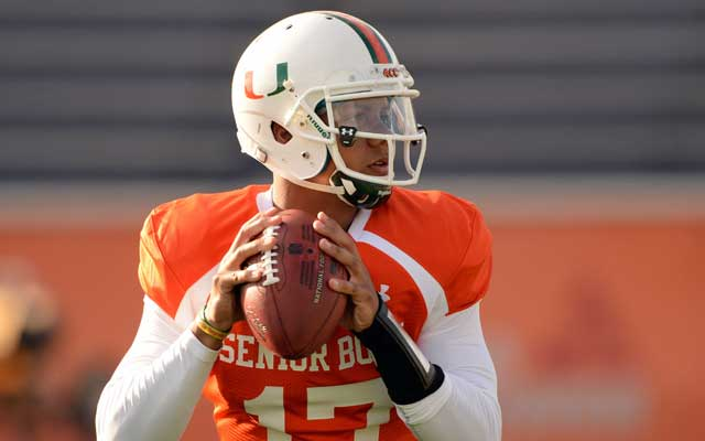 Former Canes QB Stephen Morris wasn't his sharpest Monday at Senior Bowl practice. (USATSI)