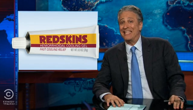Jon Stewart has some thoughts on the Redskins name controversy. (Comedy Central)