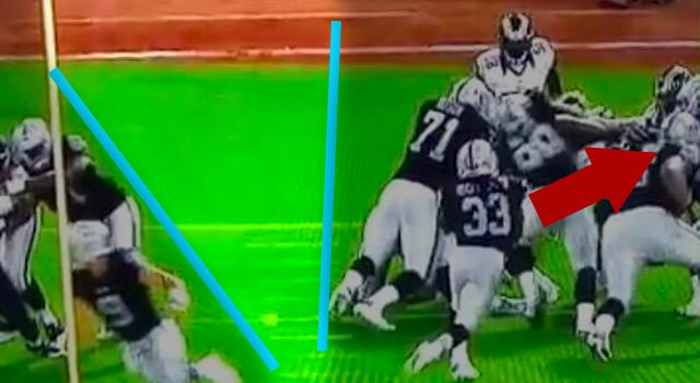 Raiders RB Trent Richardson misses a huge hole in the defense.