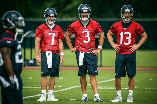 T.J. Yates (right) was the odd man out in Houston. (USATSI)