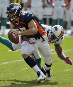 T. Tebow had a great final five minutes of the game Sunday (US Presswire).