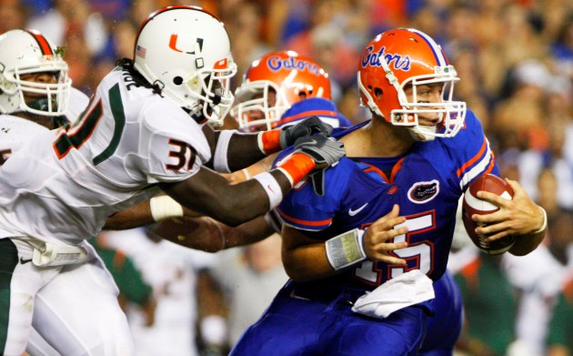 T. Tebow led Florida to a 26-3 win against Miami (US Presswire)
