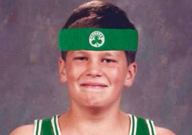best sneakers fd592 0daa5 LOOK: Young Tom Brady in Celtics uniform wishes 2014 team ...