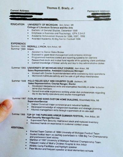 look  tom brady u0026 39 s resume is a fantastic find