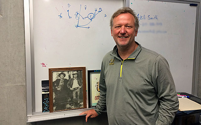 Cal assistant coach Tony Franklin with his Butch Cassidy and the Sundance Kid photo.  (Cal Athletics)