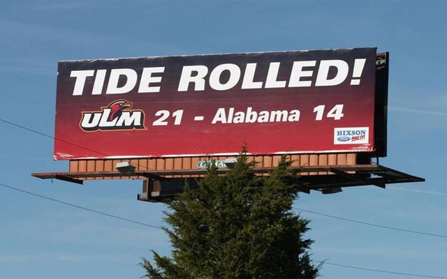 Louisiana-Monroe celebration billboard. (ULM Athletics)