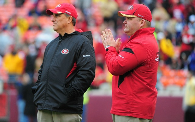 Vic Fangio, right, and Greg Roman reportedly aren't pleased with Washington. (USATSI)