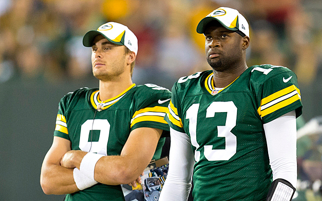 B.J. Coleman, left, joins Vince Young in the unemployment line. (USATSI)