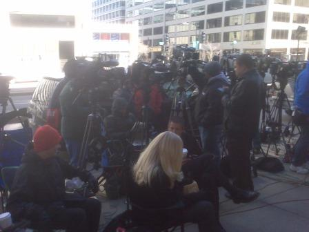 The scene outside the labor negotiations (CBSSports.com)