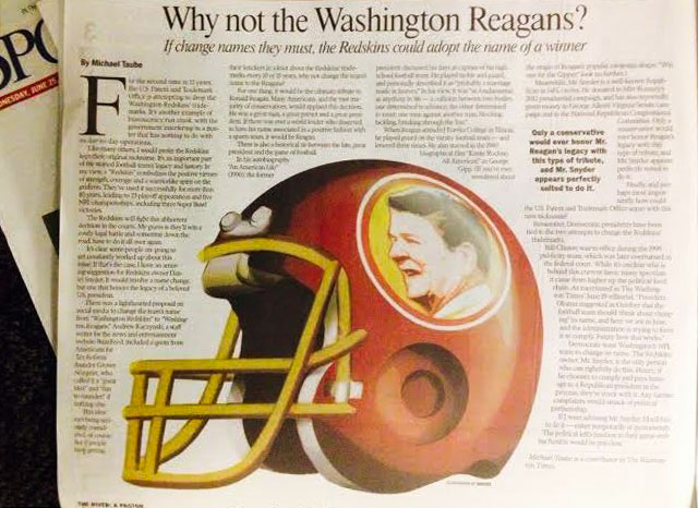 Show of hands, who's down with the Washington Reagans. (Washington Times)