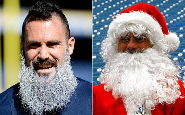 Look Eric Weddle Dyes Beard White Santa Claus Style