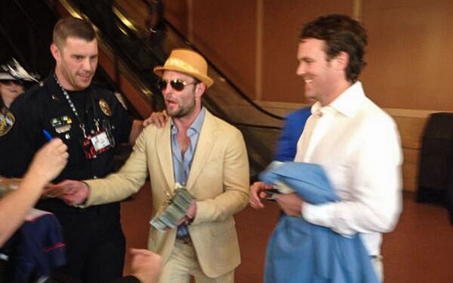 Wes Welker handing out hundred-dollar bills like it's his job. (@Jeff_Novak)
