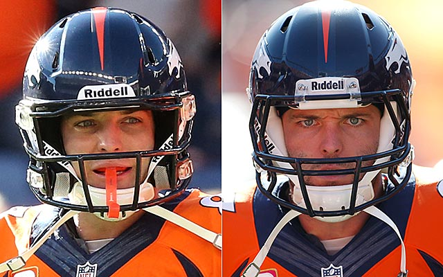 Wes Welker's new, oversized helmet is on the left. His regular helmet is on the right. (USATSI)