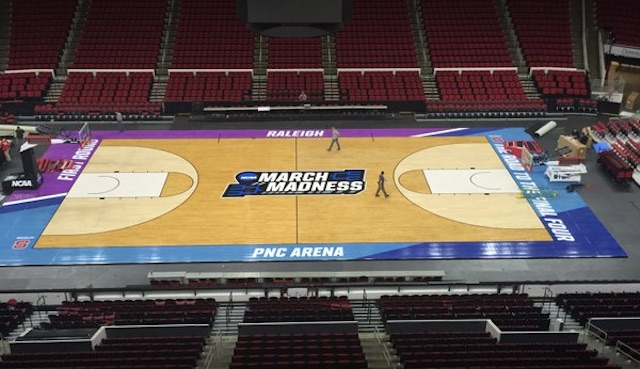 Look ncaa puts snazzy new colors on courts for 2016 march for Design basketball court