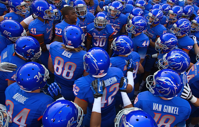 Boise State's home all-blue uniforms aren't going anywhere after all. (USATSI)
