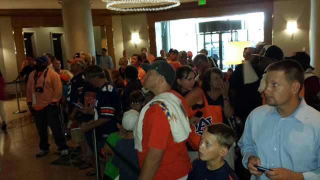 Scheduling both Florida and Auburn for Monday meant some orange-and-blue color synergy for SEC Media Days fans. (Jerry Hinnen)