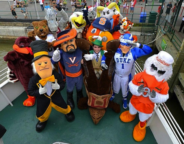 The ACC mascots pose in New York City as part of the league's expansion celebration. (Twitter.com)