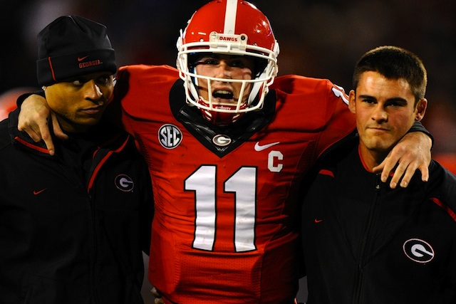 Aaron Murray was knocked out of the game with a left knee injury. (USATSI)