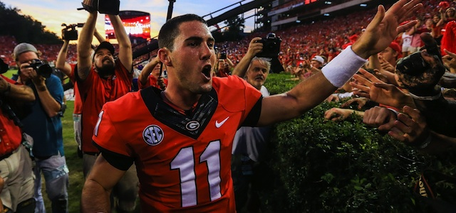 Aaron Murray had five total touchdowns in the 44-41 win against LSU. (USATSI)