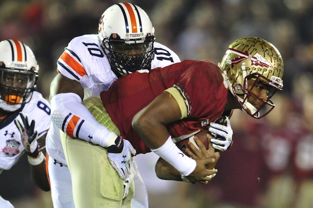 Auburn's defense kept Jameis Winston bottled up for three quarters in the BCS title game.  (USATSI)