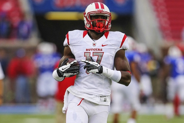 Rutgers wide receiver Brandon Coleman will play his final college game against Notre Dame in the Pinstripe Bowl.  (USATSI)