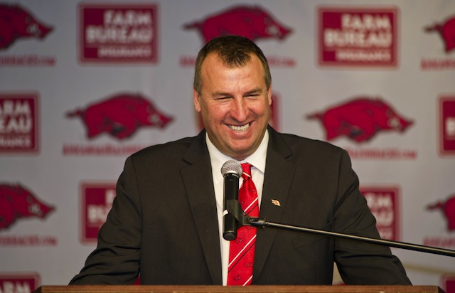 Arkansas coach Bret Bielema confirmed talks of a future series with Texas Tech. (USATSI)