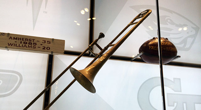 The trombone that belonged to Stanford band member Gary Tyrrell from 'The Play' against Cal in 1982. (Provided)