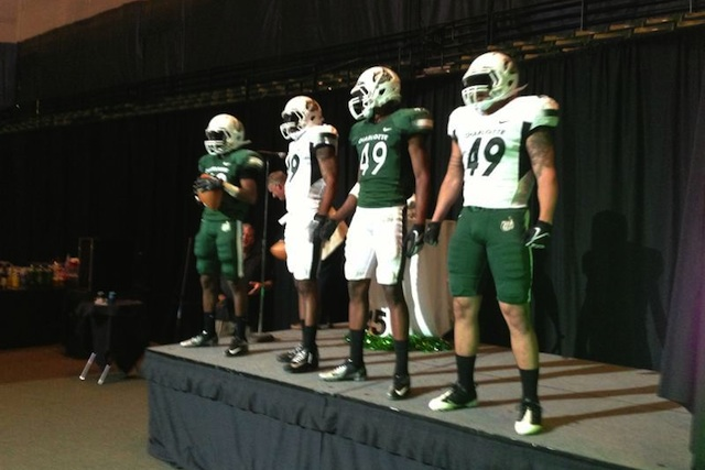 Charlotte debuted the football uniforms for 2013 at an athletic foundation event over the weekend. (Charlotte Sports Information)