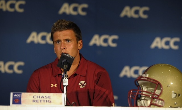 Boston College quarterback Chase Rettig answers questions at 2013 ACC football kickoff. (USATSI)