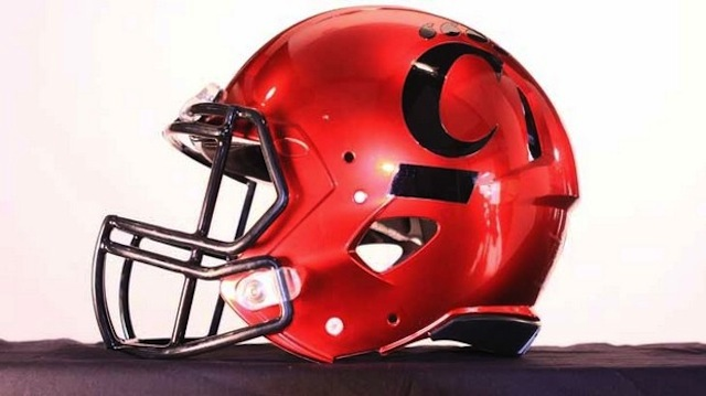 Cincinnati will wear commemorative chrome helmets in the Belk Bowl.  (UC Athletics)