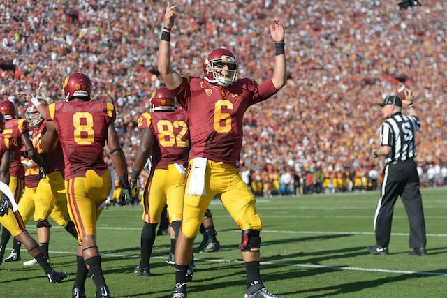 Cody Kessler (6) is expected to fight through a toe injury to lead USC against Stanford.  (USATSI)