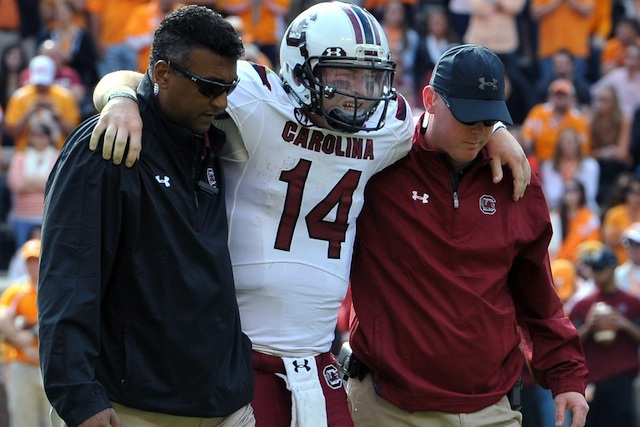 Connor Shaw's status for Missouri is unknown after suffering a knee sprain against Tennessee. (USATSI)
