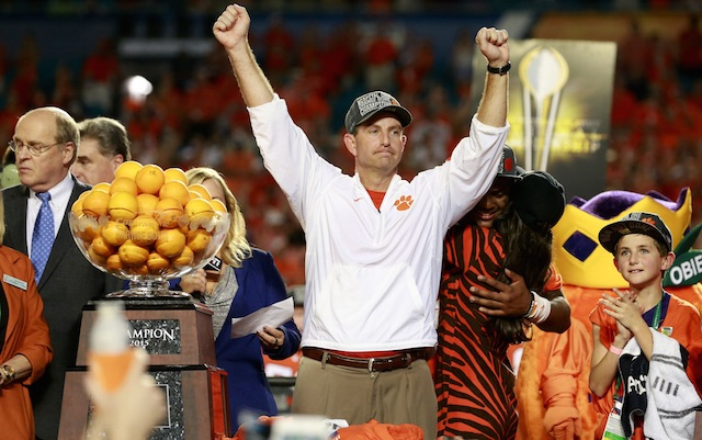 Dabo Locker Room After Win