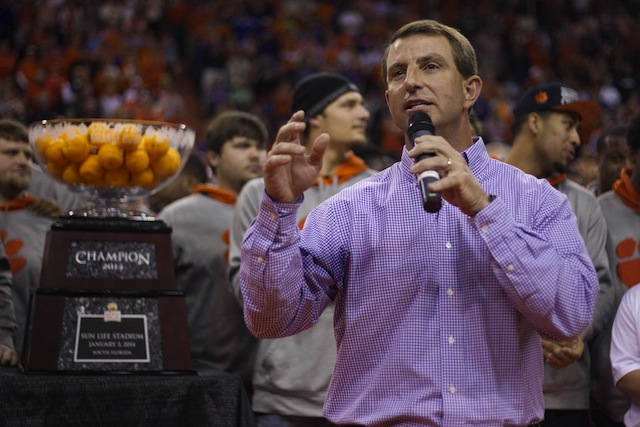 Dabo Swinney isn't a fan of the college athletes' union movement. (USATSI)