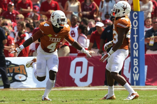 Daje Johnson (No. 4) will miss Texas' game against Texas Tech next Thursday. (USATSI)