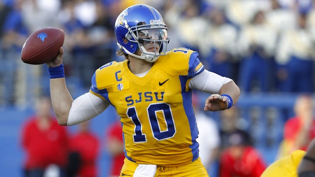 David Fales threw six touchdowns and added another on the ground in the upset of Fresno State.  (USATSI)