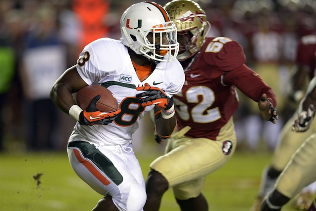 Duke Johnson suffered an ankle injury in the loss to Florida State. (USATSI)