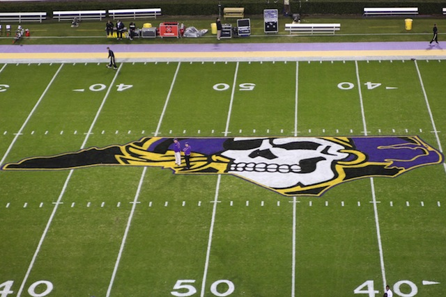 ECU's midfield logo at Dowdy-Ficken Stadium. (USATSI)