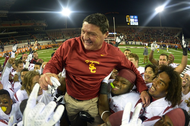 Ed Orgeron received a vote for Pac-12 Coach of the Year from Jim Mora, his opponent on Saturday. (USATSI)