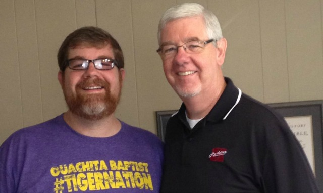 Kyle Parris (left) and his dad Stan are a manifestation of the bitter rivalry. (Ouachita Baptist athletics)