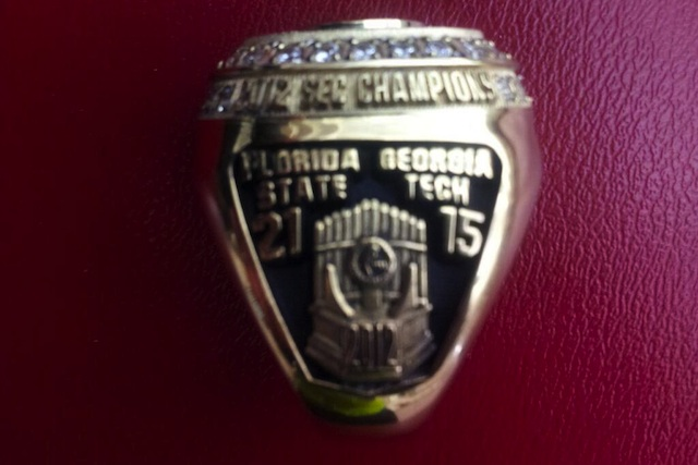 Menelik Watson's ACC title ring celebrates the 2012 SEC Champions. (USATSI)