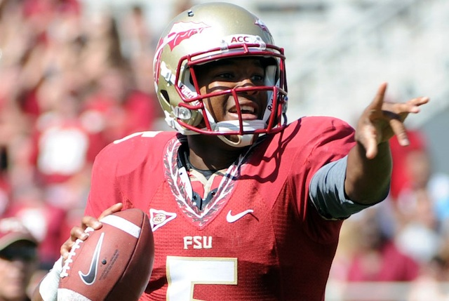 Florida State QB Jameis Winston was a popular interview at media day on Sunday. (USATSI)