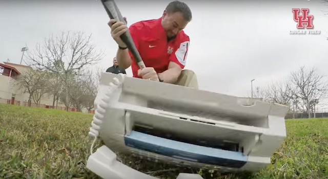 WATCH Houston Coaches Destroy Fax Machine In Perfect Office Space Spoof