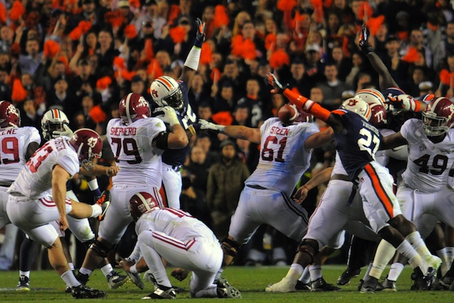 Cade Foster missed two field goals and had another blocked against Auburn.  (USATSI)