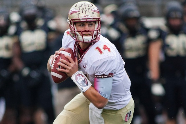 Florida State backup quarterback Jacob Coker (knee surgery) is out indefinitely. (USATSI)