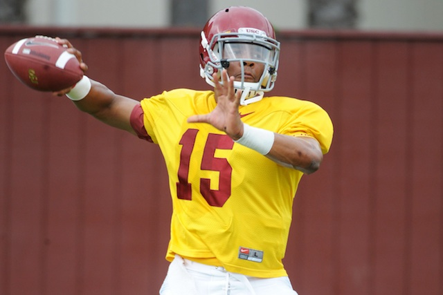 Former USC quarterback Jesse Scroggins will be very limited in Arizona's spring practice. (USATSI)