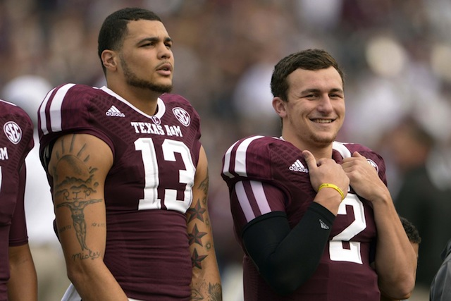 Expect Johnny Manziel to look for Mike Evans early and often against LSU's defense in Death Valley. (USATSI)
