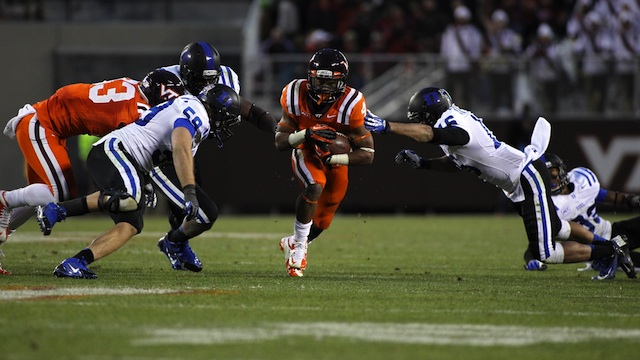 Kelby Brown (left, No. 59) and Duke's defense kept Virginia Tech's ground game in check in the 13-10 win. (USATSI)