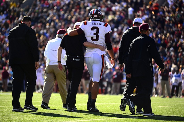 Logan Thomas was knocked out of the Sun Bowl in the first half.  (USATSI)