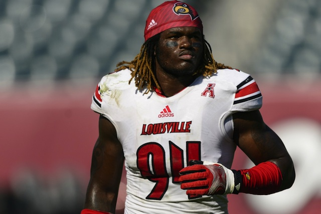 Lorenzo Mauldin will miss Louisville's first spring practice with DC Todd Grantham.  (USATSI)